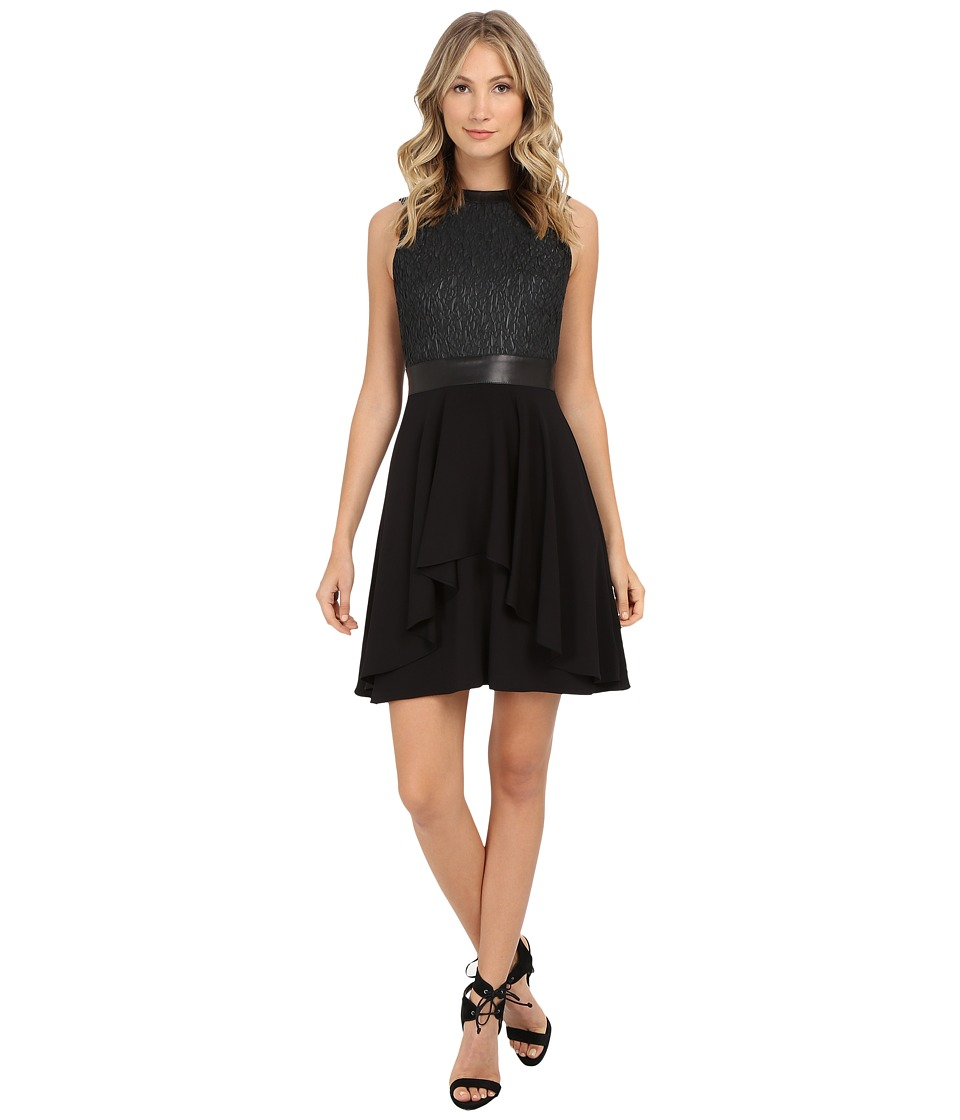 Nicole Miller - Katrina Fit n' Flare Leather Combo Dress (Black) Women's Dress