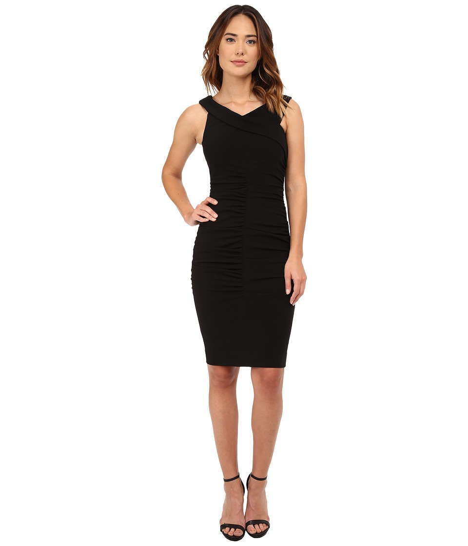 Nicole Miller - Structured Jersey Palazzo Off-Shoulder Dress (Black) Women's Dress