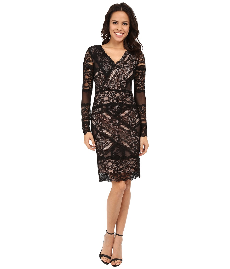 Nicole Miller Aliana Stretch Long Sleeve Lace Dress (Black/Nude) Women