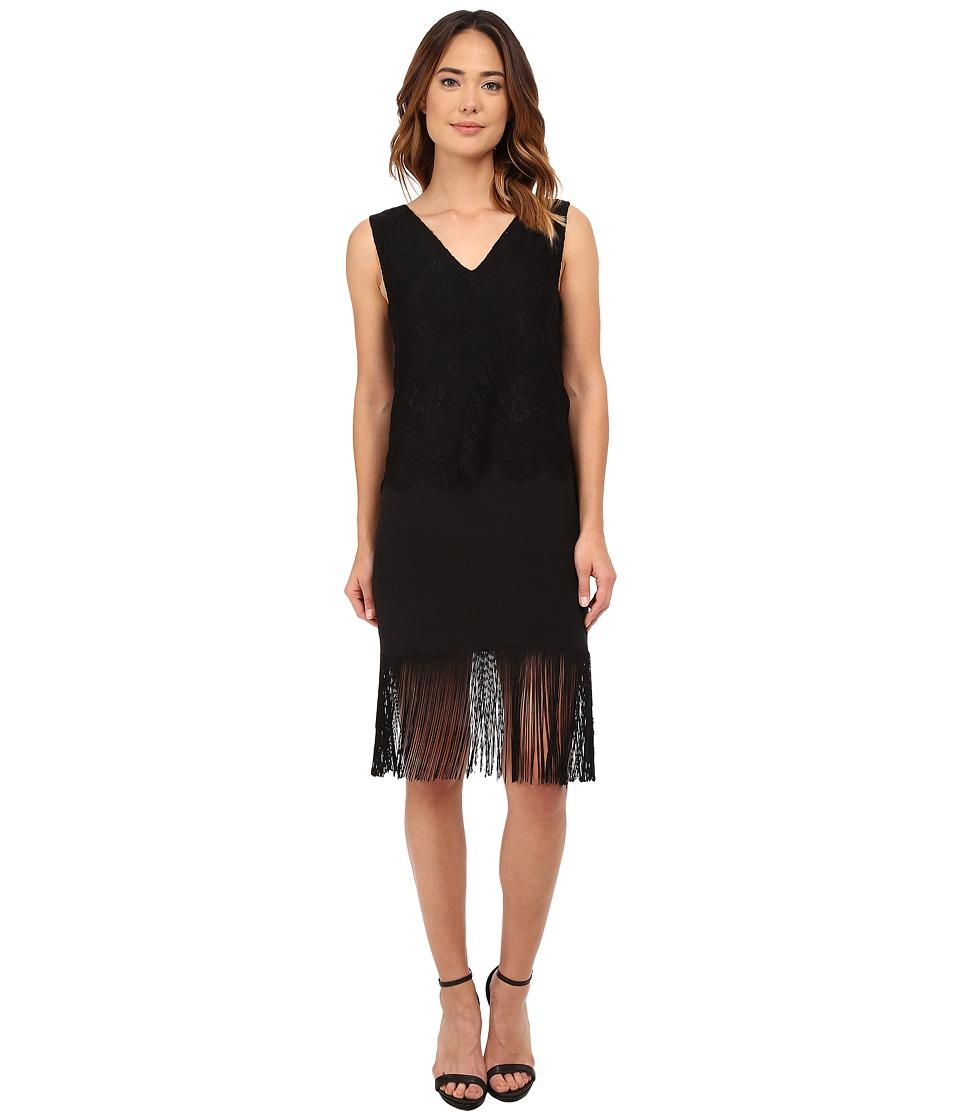 Nicole Miller - Stella Fringe and Lace Party Dress (Black/Black) Women's Dress