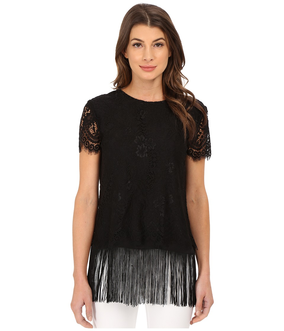 Nicole Miller - Sascha Fringe and Lace Top Dress (Black/Black) Women's Blouse
