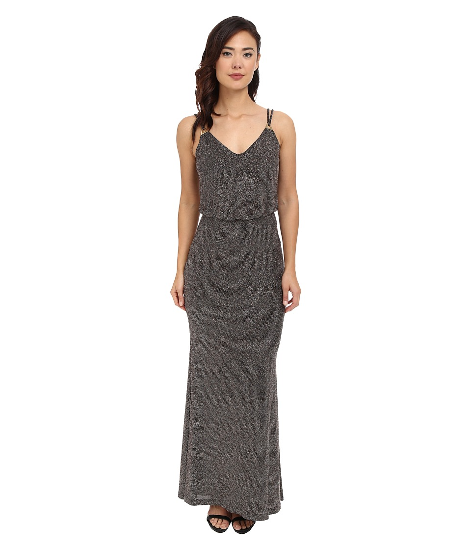 Calvin Klein - Slip Strap Gown (Black Multi) Women's Dress