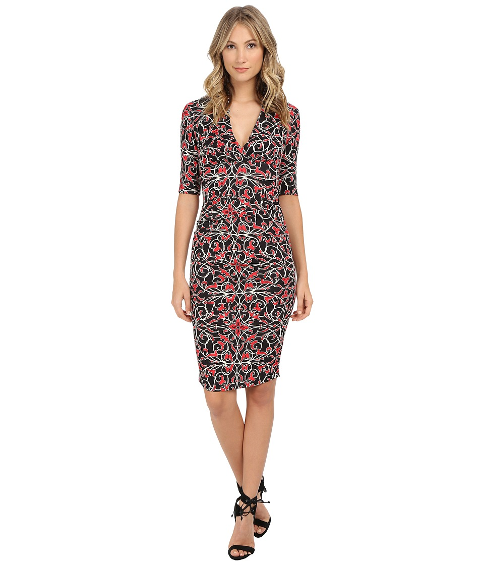 Nicole Miller - Tendrils Stretch Extended Cap Dress (Red/Black) Women's Dress