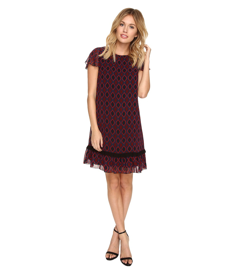 kensie - Linear Eclipse Dress KSDK7814 (Rich Red Combo) Women's Dress
