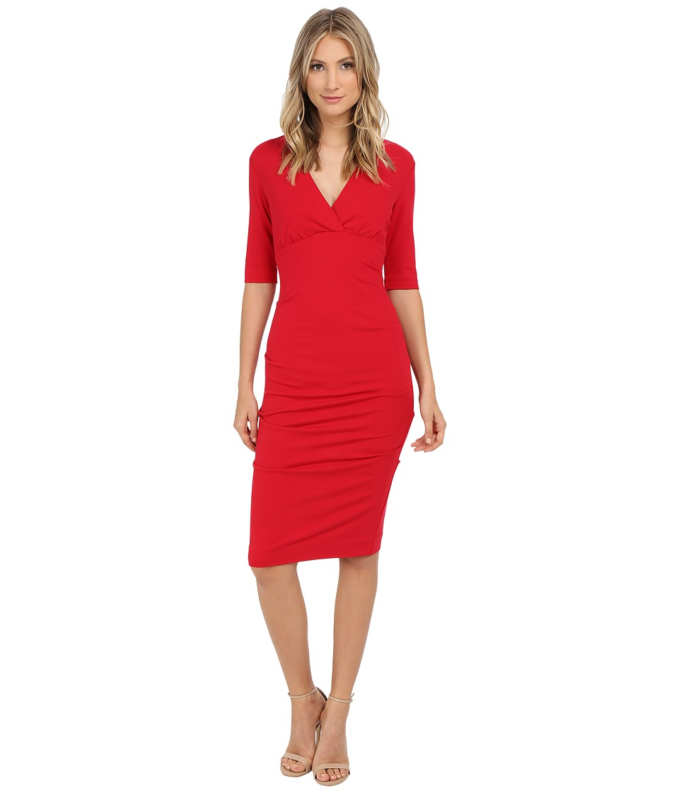 Nicole Miller Joss Ponte Ruched Dress (Lipstick Red) Women