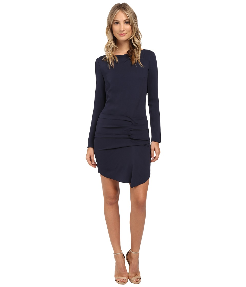 Nicole Miller - Parisian Side Tuck Crepe Dress (Navy) Women's Dress