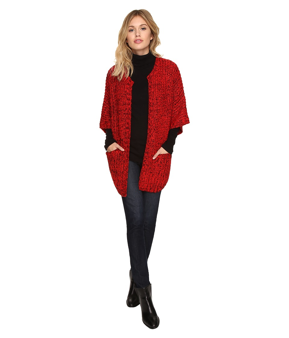 kensie - Huggable Yarn Cardigan KSDK5852 (Rich Red Combo) Women's Sweater
