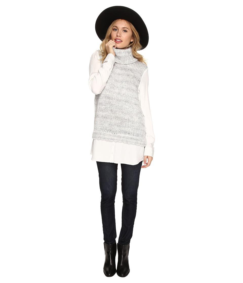 kensie - Cozy Wool Blend Sweater KSDK5850 (Fog Combo) Women's Sweater