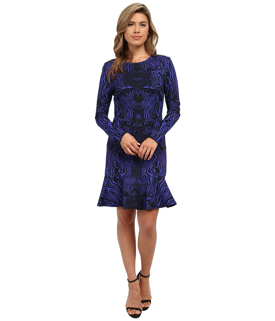 Nicole Miller - Tidal Tiger Long Sleeve Flippy Dress (Black/Cobalt) Women's Dress