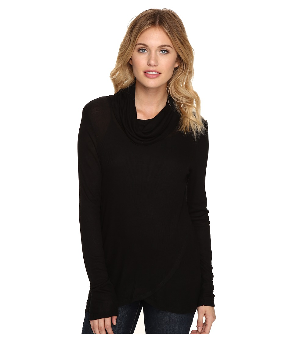 kensie - Waffle Knit Top KSDK3877 (Black) Women's Sweater