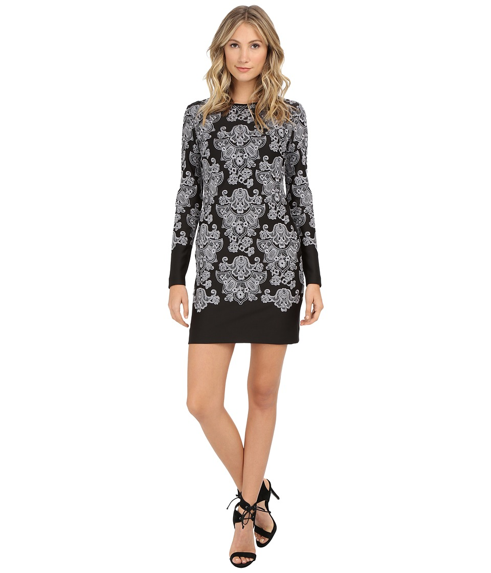 Nicole Miller Baroque Embroidered Neoprene Dress (Black/White) Women