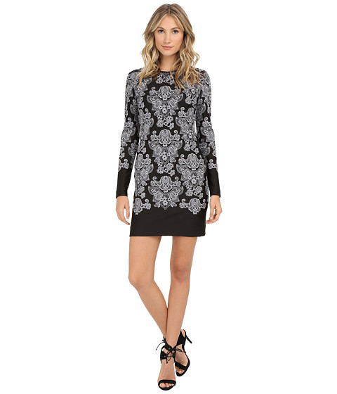 Nicole Miller - Baroque Embroidered Neoprene Dress (Black/White) Women