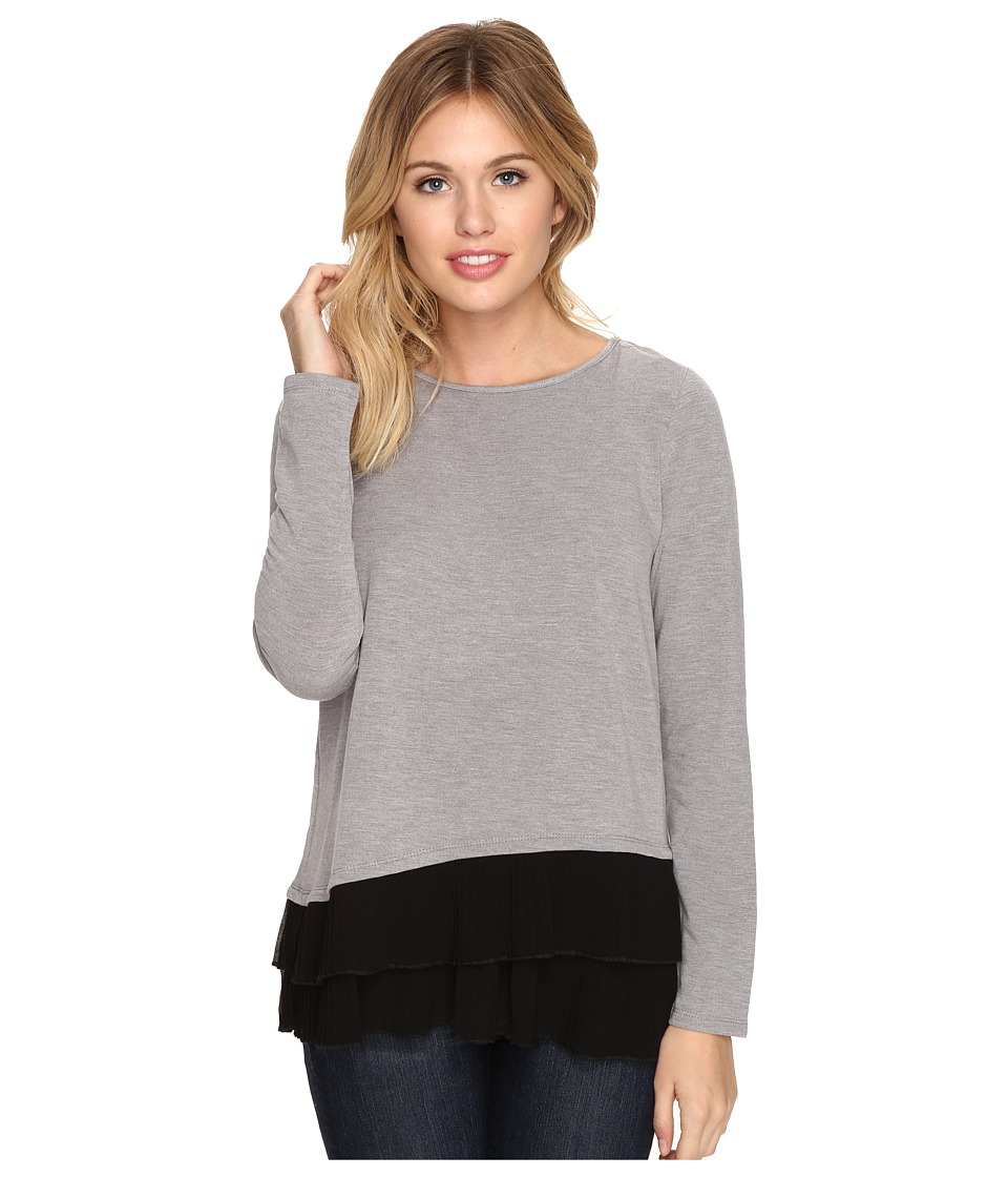 kensie - Bamboo Fleece Sweatshirt KSDK3882 (Heather Grey Combo) Women's Sweatshirt