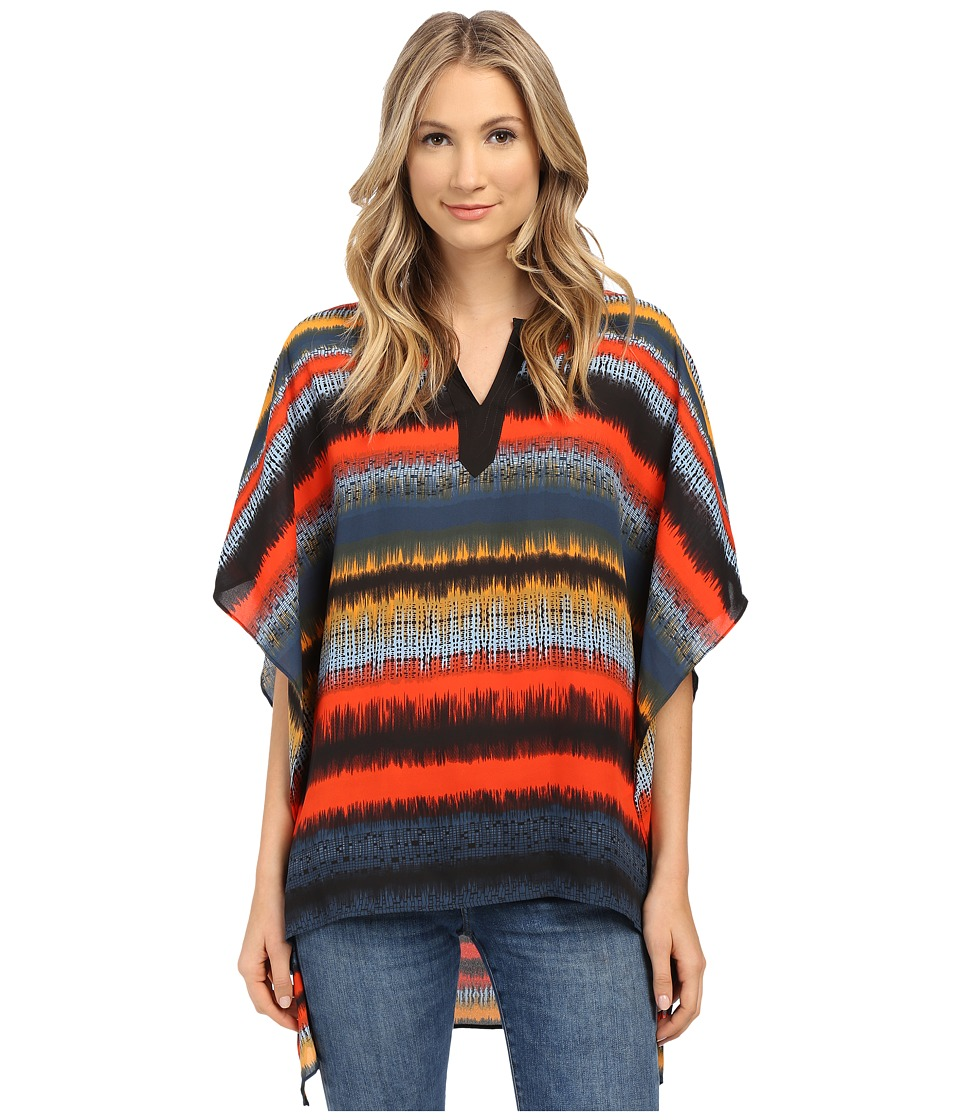 kensie - Noisy Stripes Poncho Top KS1K4492 (Slate Blue Combo) Women's Clothing