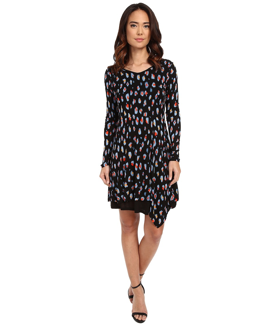 kensie - Watercolor Spots Dress KS1K7881 (Black Combo) Women's Dress