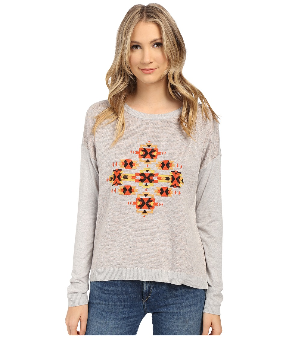 kensie - Speckled Melange Knit Aztec Sweater KS1K5859 (Pale Grey Combo) Women's Sweater