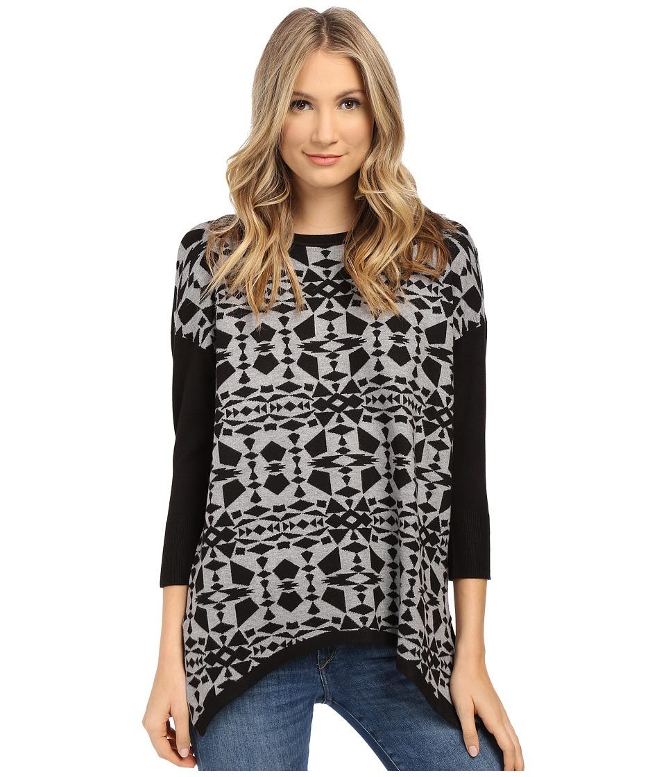 kensie - Soft Viscose Blend Aztec Sweater KS1K5857 (Heather Grey Combo) Women's Sweater
