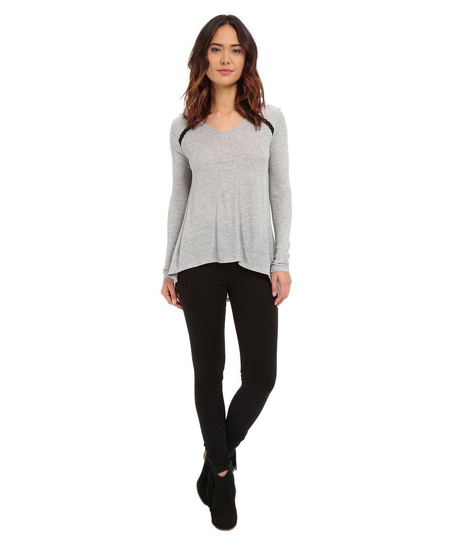 kensie - Waffle Knit Tee KS1K3890 (Heather Grey Combo HGE) Women's T Shirt