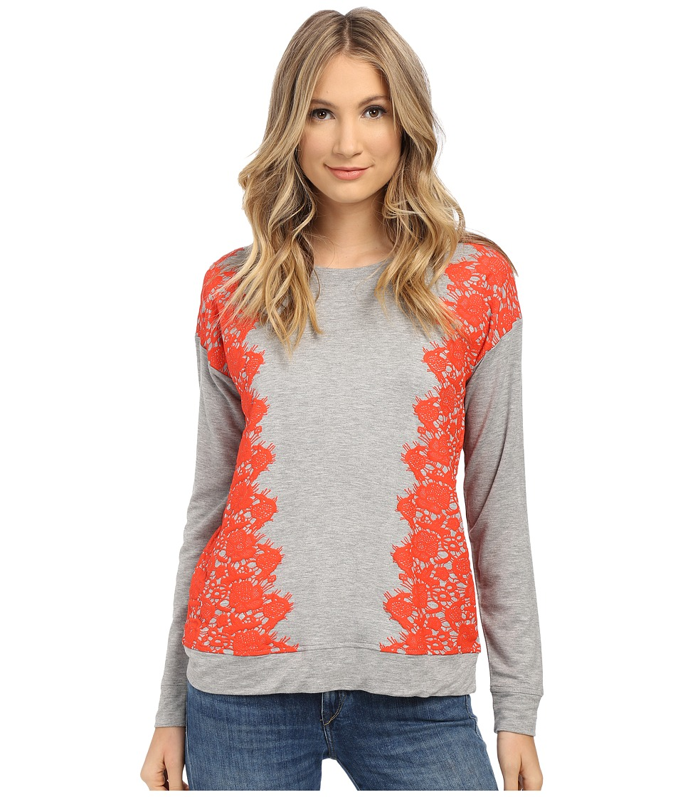 kensie - Lace Print Sweatshirt KS1K3893 (Heather Grey Combo HGE) Women's Sweatshirt