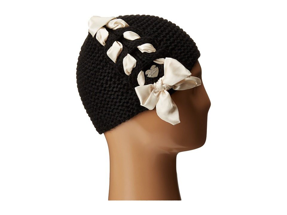 Betsey Johnson - Lace Up Beanie (Black) Beanies