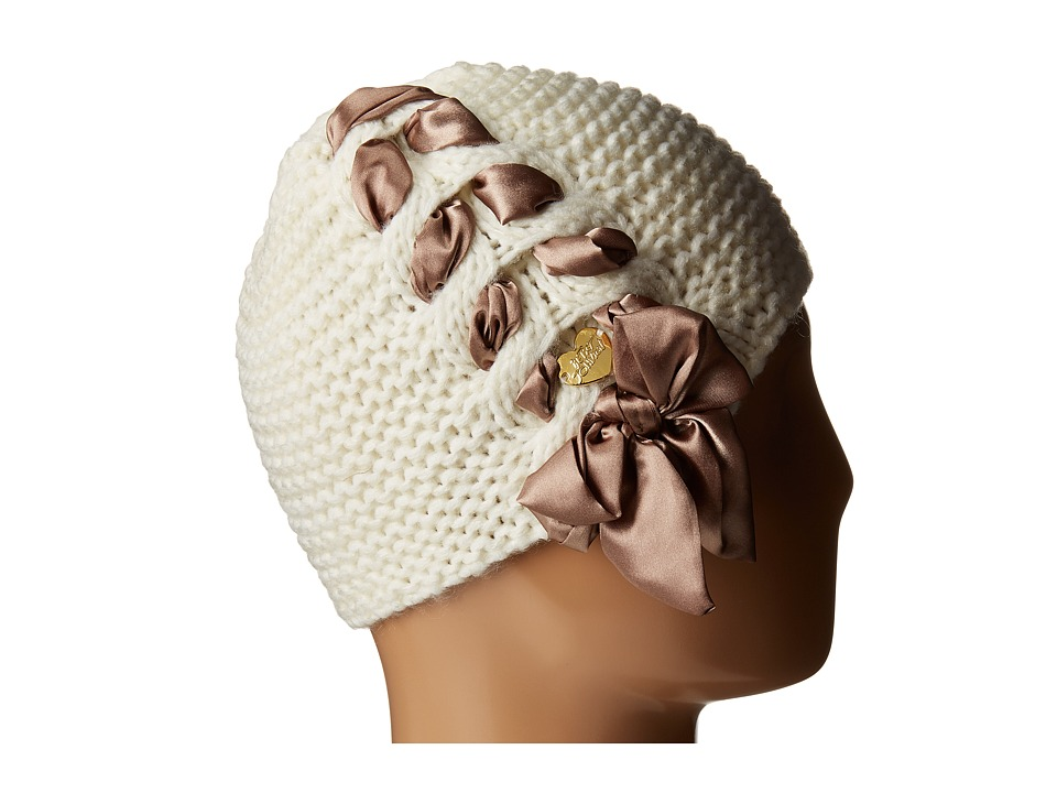 Betsey Johnson - Lace Up Beanie (Cream) Beanies