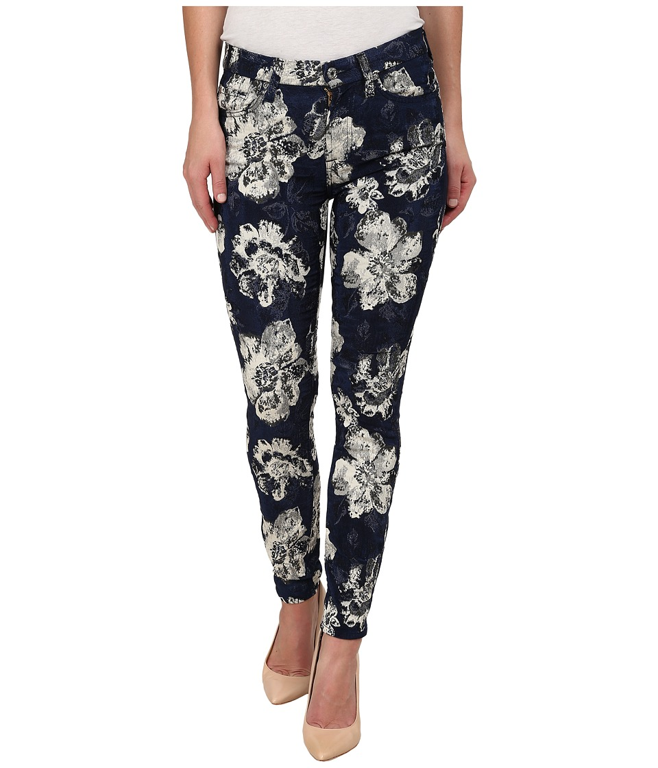 7 For All Mankind - Ankle Skinny Indigo Jeans in Floral Jacquard (Floral Jacquard) Women's Jeans