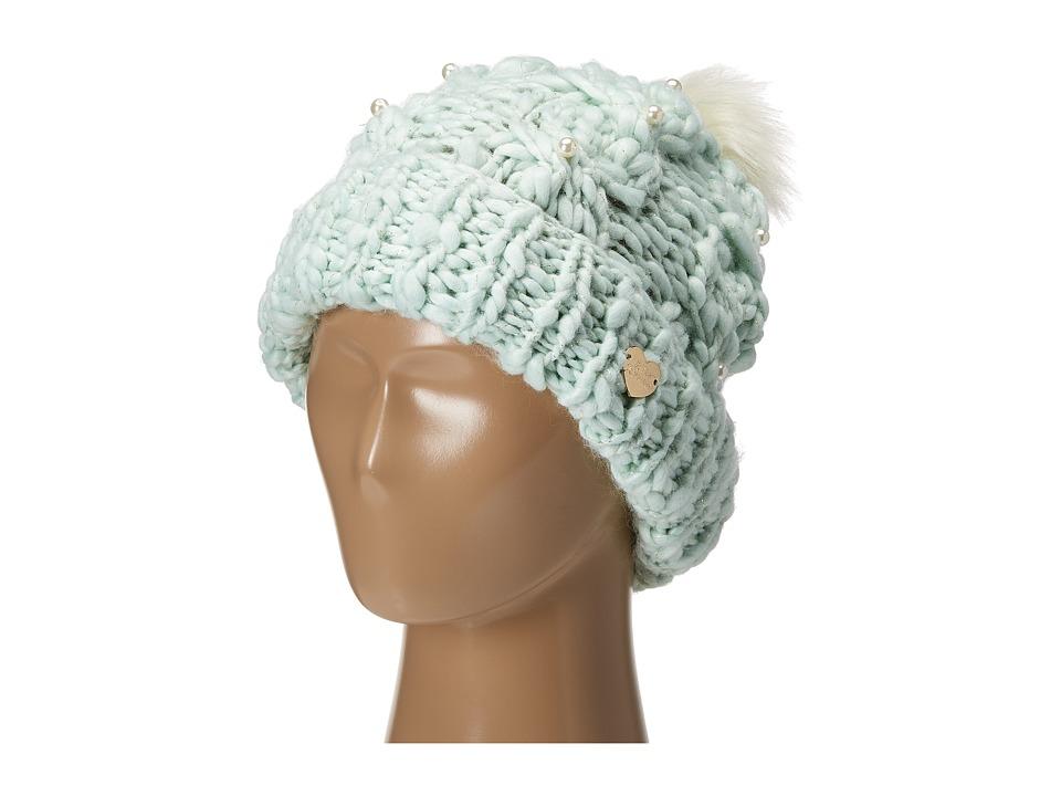 Betsey Johnson - Pearly Girl Cuff Hat (Aqua) Caps