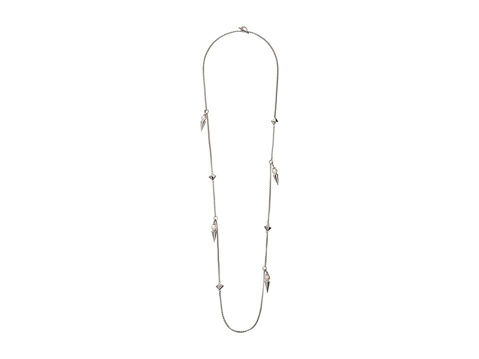 Majorica - Spiked Long Pearl and Steel Necklace (Silver/White) Necklace