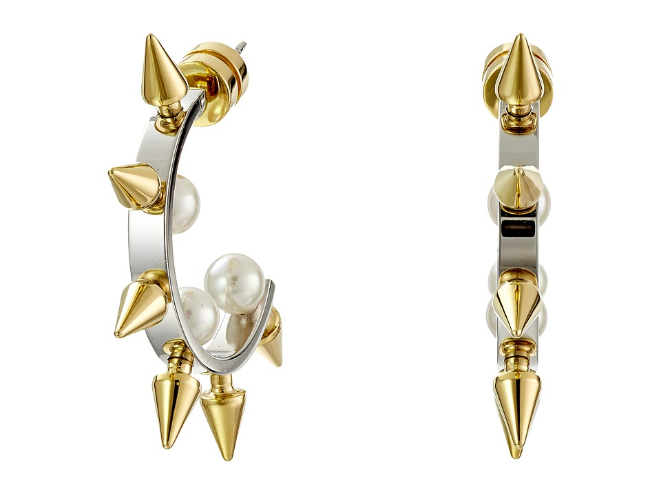 Majorica - Spiked Pearl Hoop Earrings (Silver/Gold/White) Earring