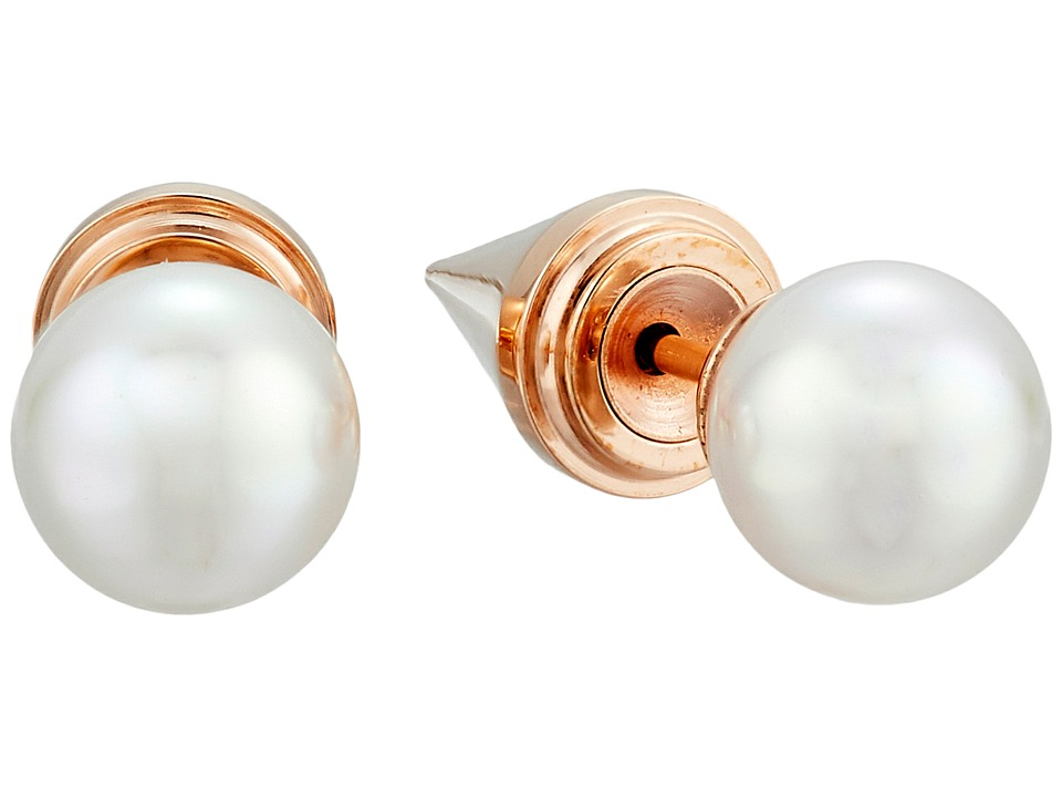 Majorica - Spiked Back Pearl Stud Earrings (Rose/White) Earring