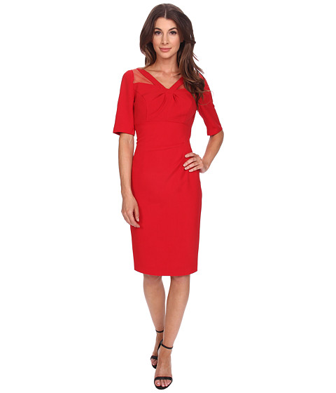 Adrianna Papell - New Origami Neckline Dress with Netting Insert (Scarlet) Women