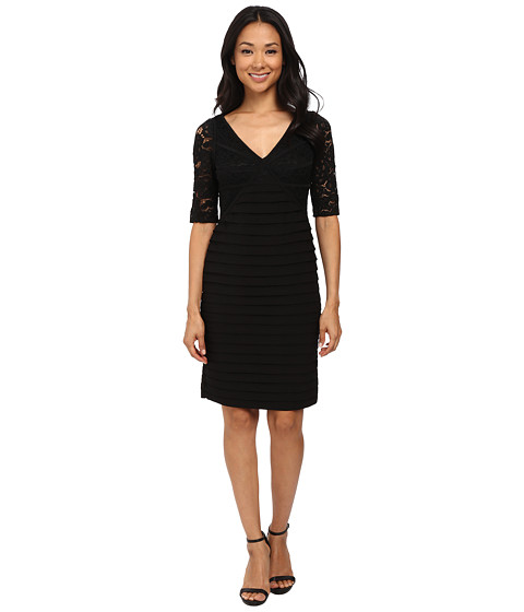 Adrianna Papell - Stripped Lace with Banded Jersey Dress (Black) Women