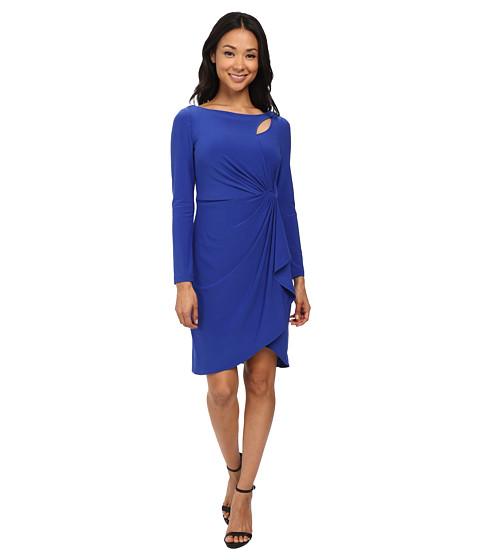 Adrianna Papell - Peek A Boo Side Drape Jersey Dress (Royal) Women's Dress