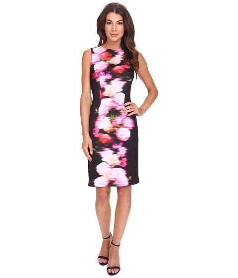 Adrianna Papell - Photoreal Placed Floral Print Dress (Black Multi) Women