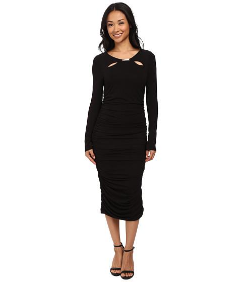 Adrianna Papell - Scoop Neck Long Sleeve Shirred Dress (Black) Women's Dress