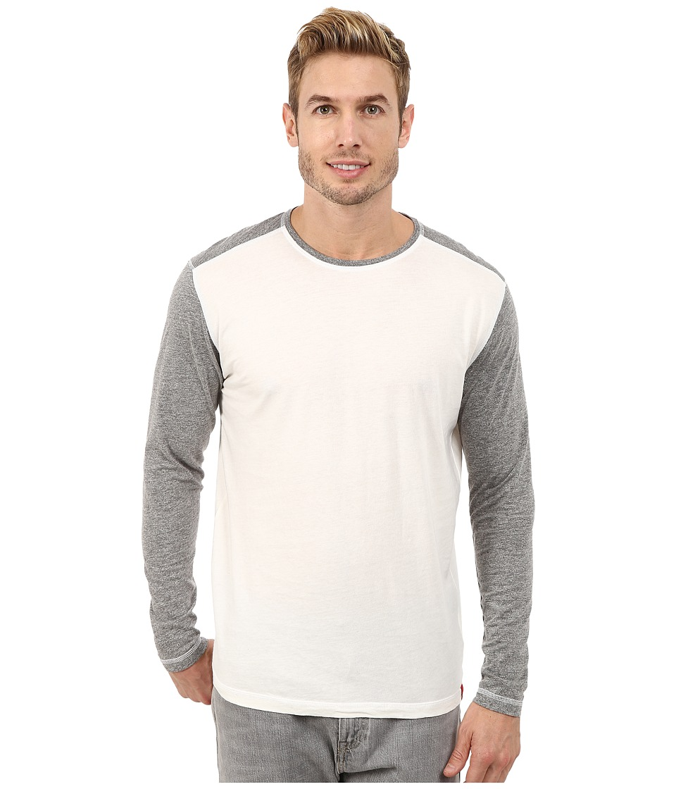 Agave Denim - Long Sleeve Vee Streaky Jersey Color Block (Egret) Men's Long Sleeve Pullover