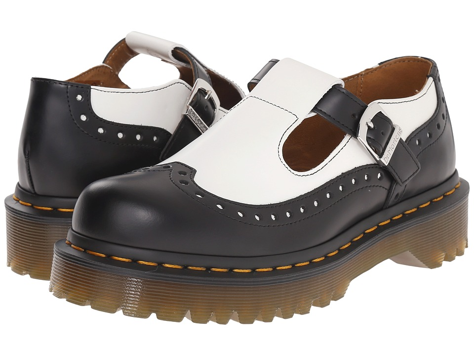 Dr. Martens - Demize Brogue T Bar (Black/White Smooth) Women's Maryjane Shoes