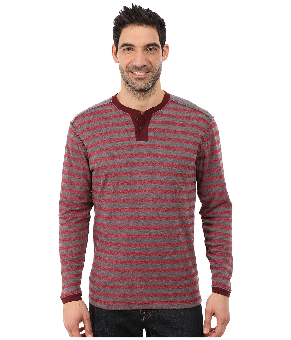 Agave Denim - Long Sleeve Henley Stripe (Cabernet) Men's Long Sleeve Pullover