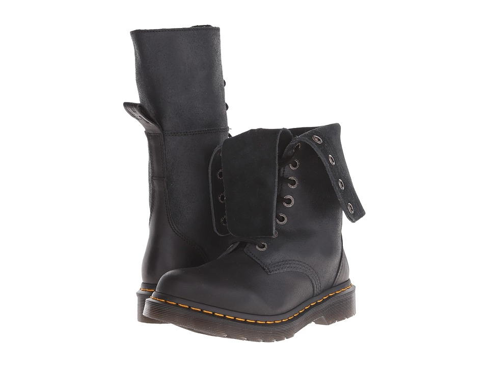 Dr. Martens Hazil Tall Slouch Boot (Black Virginia/Darkend Suede) Women