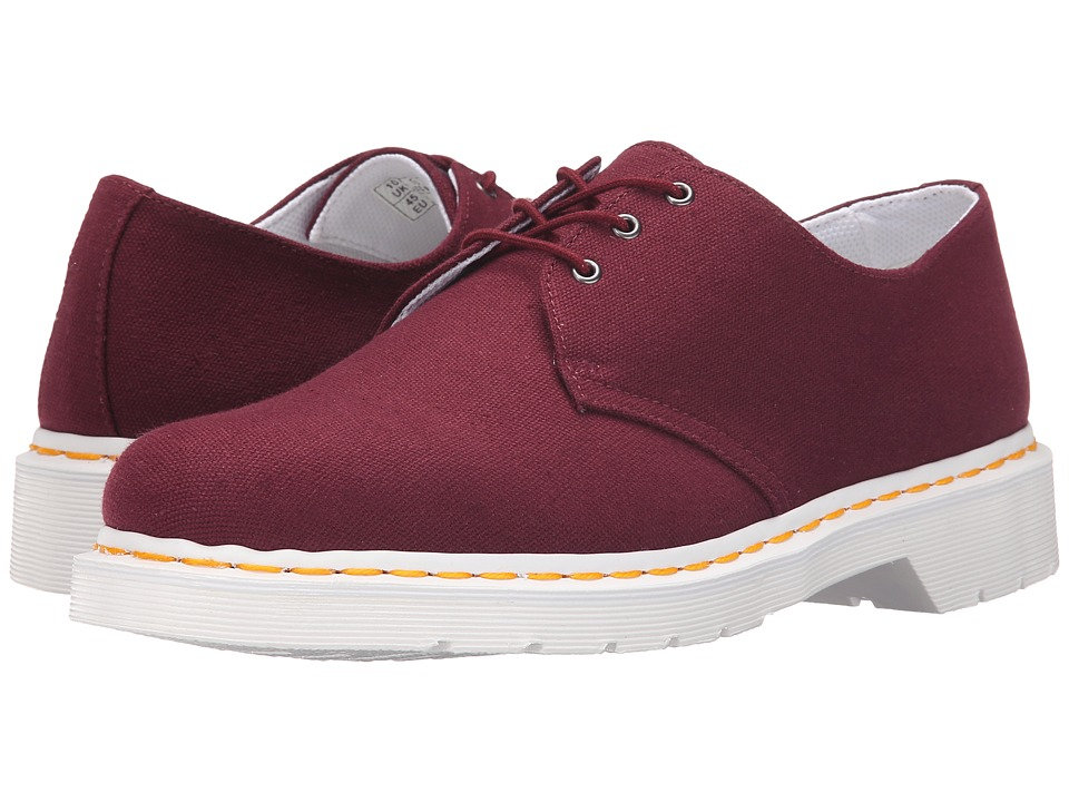 Dr. Martens - Lester 3-Eye Shoe Canvas (Old Oxblood Canvas) Men's Lace up casual Shoes