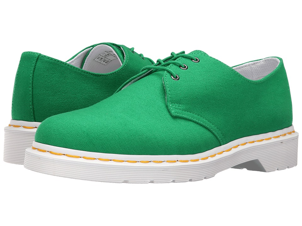 Dr. Martens - Lester 3-Eye Shoe Canvas (Green Canvas) Men's Lace up casual Shoes