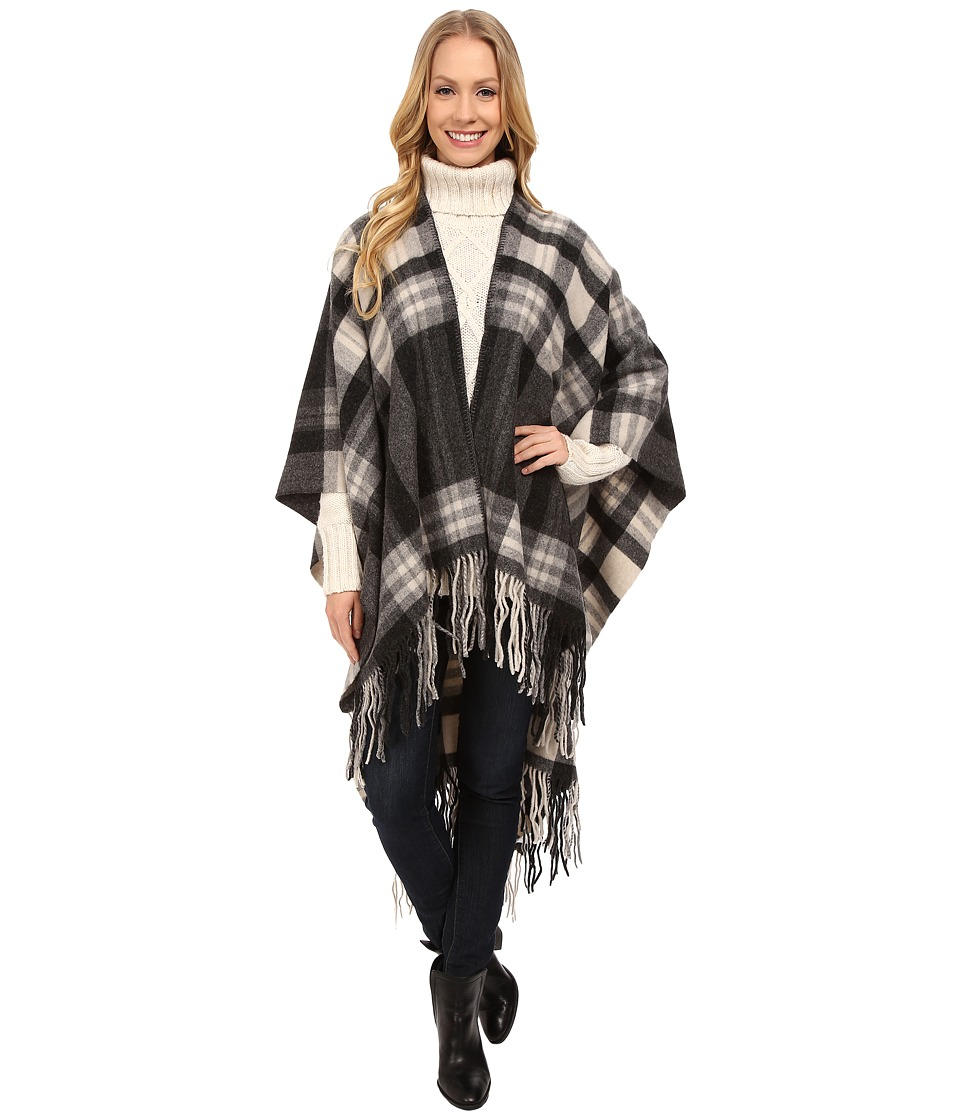 Pendleton - Plaid Blanket Shawl (Black) Women's Sweater