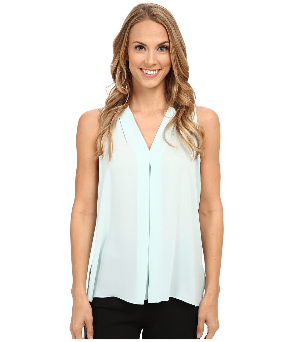 Vince Camuto - Sleeveless V Blouse w/ Inverted Front Pleat (Aqua Shade) Women's Blouse
