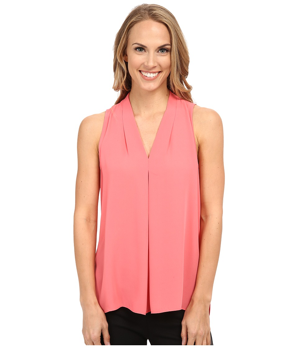 Vince Camuto - Sleeveless V Blouse w/ Inverted Front Pleat (Coral Sugar) Women's Blouse