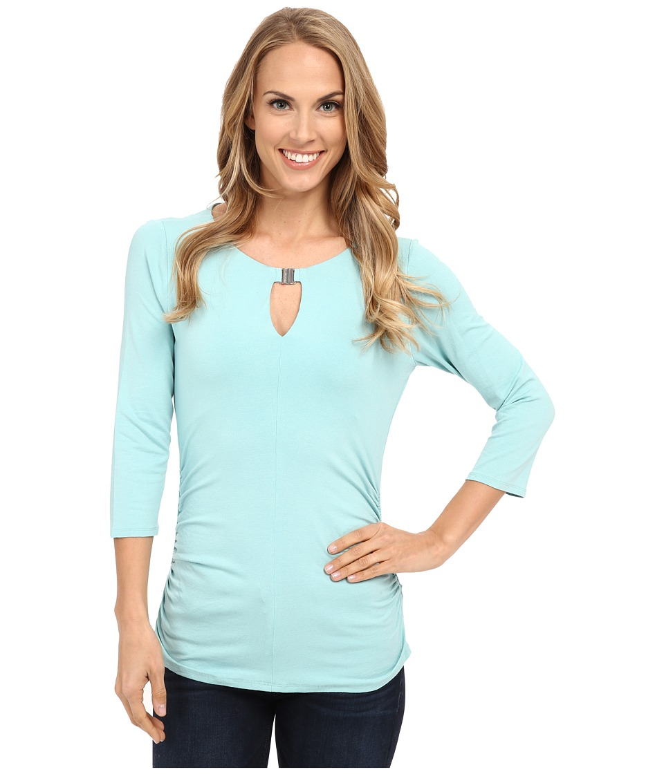 Vince Camuto - 3/4 Sleeve Keyhole Top w/ Hardware (Aquamarine) Women's T Shirt
