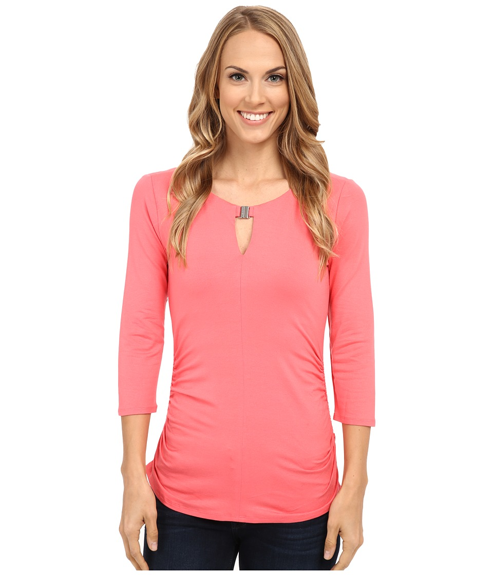 Vince Camuto - 3/4 Sleeve Keyhole Top w/ Hardware (Coral Sugar) Women's T Shirt
