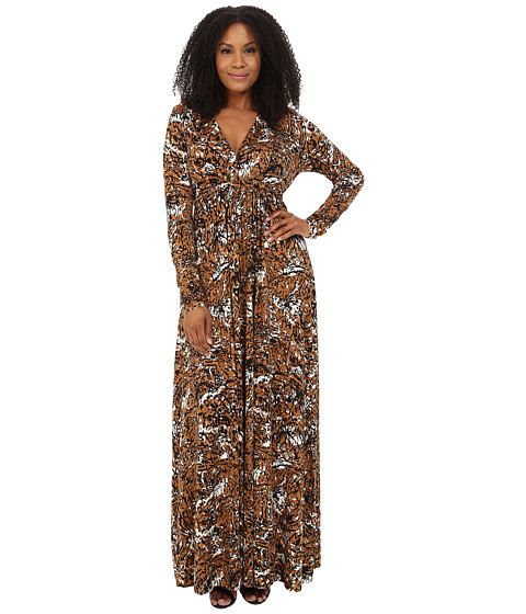 Rachel Pally Plus - Plus Size Long Sleeve Full Length Caftan White Label Print (Bengal) Women's Dress