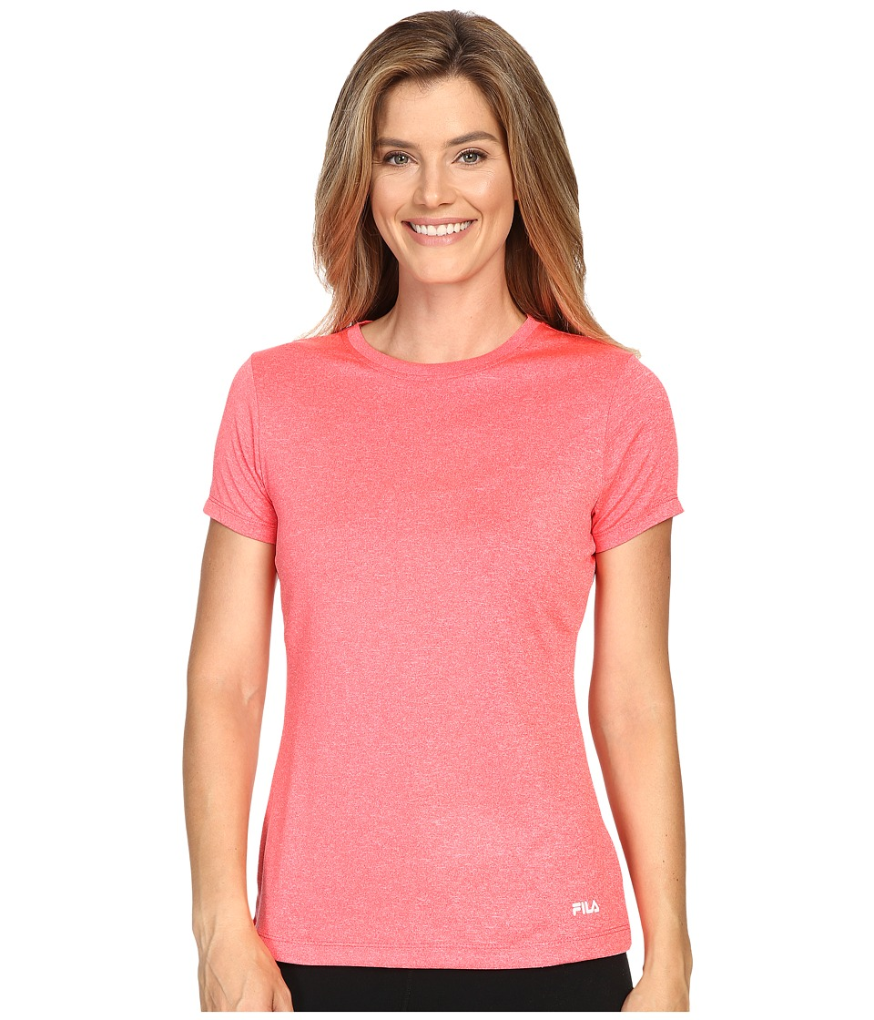 Fila - Heather Crew Neck Tee (Coral Cake Heather) Women's T Shirt