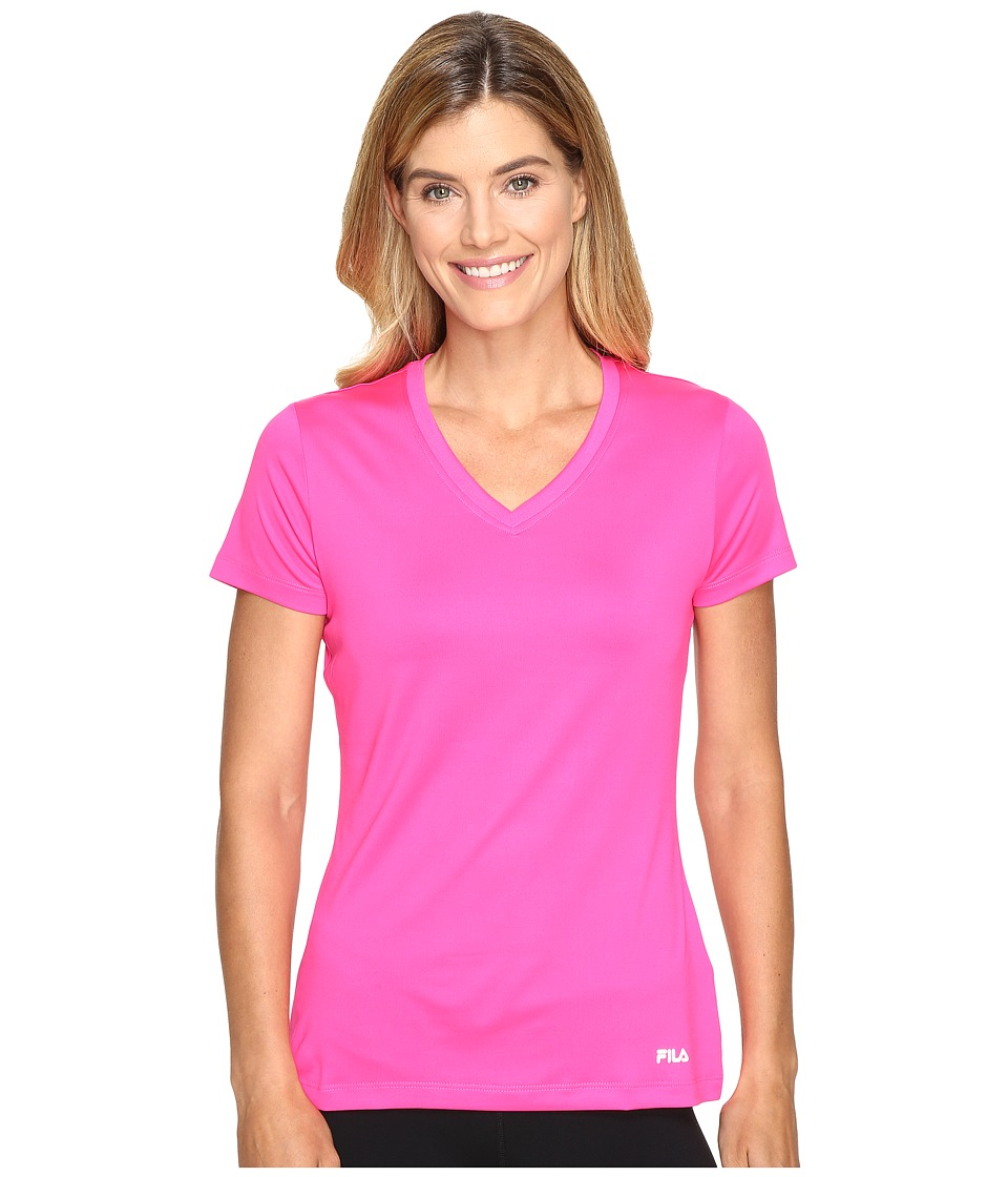 Fila - Heather V-Neck Tee (Pink Glo) Women's T Shirt