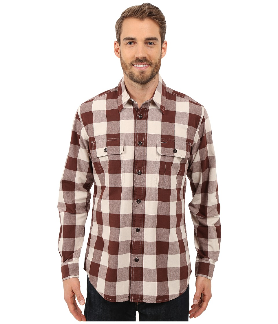 Filson - Kitsap Work Shirt (Dark Burgundy Buffalo) Men's Clothing